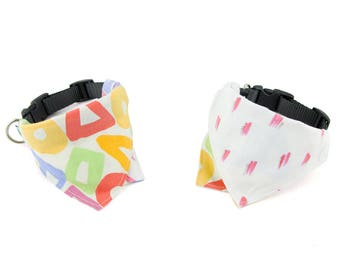 Artiste / Blanc Reversible Dog Bandana Collar