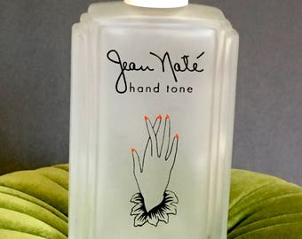 Vintage Art Deco Vanity Bottle Jean Naté Lanvin Hand Tone Glass Bottle