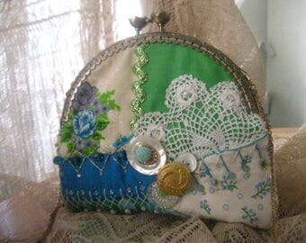 Grandmas Garden Handmade Purse OOAK Victorian Crazy Quilt Hand Embroidered Lady's Art Purse Up-Cycled Vintage Lace Buttons Beads Party Bag