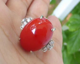 Large 1950s 14k Gold Diamond Ox blood natural red Mediterranean coral cabochon cocktail filigree ring