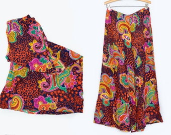 60s Psychedelic Palazzo Pants Bell Bottom Neon Paisley Floral Elephant Bells