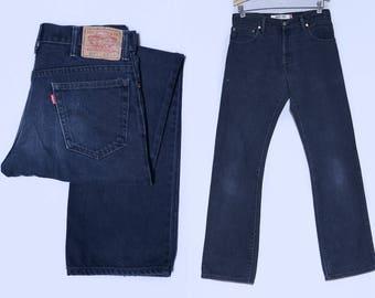 Vintage Levis 517 Black Denim High Waisted Jeans 32 x 34