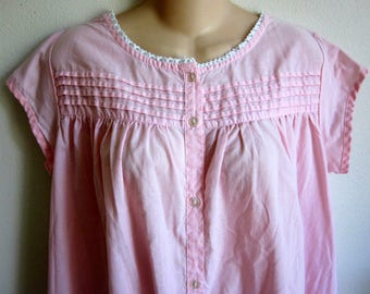 Cool Cozy cotton nightgown button front free bust style pink size S