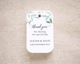 Thank You Greenery Wedding Favor Tags - Personalized Gift Tags - Bridal Shower - Thank you tags- Party Tags- Favor Bag Tag (Item code: J691)