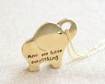 Personalized elephant necklace, Elephant jewelry, Initial necklace, Animal necklace, Personalized jewelry, BFF necklace, famliy gift
