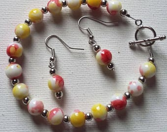 Red, Yellow, White, and silver beaded bracelet and earrings set