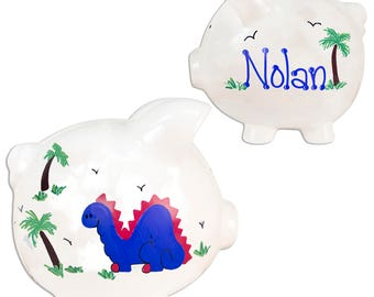 Hand Painted Personalized Dinosaur Piggy Banks for Boys Dinosaurs Ceramic Piggy Bank for Dino Nursery Child's Room Jurassic Park PIGG-whi-11