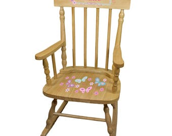 Personalized Natural Childrens Rocking Chair with Aqua Butterflies Design-spin-nat-300c