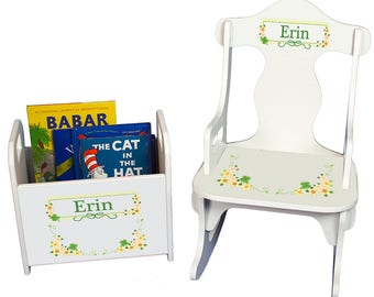 Personalized Puzzle Rocker and Book Caddy set with Shamrock Design-rknrd-344