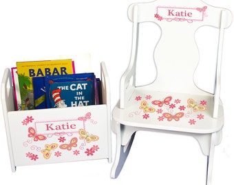 Personalized Puzzle Rocker and Book Caddy set with Yellow Butterflies Design-rknrd-300d