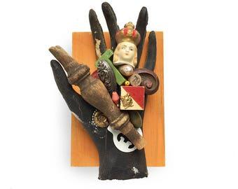 the PICKER, original mixed media assemblage, found object art, vintage flea market collection, by Elizabeth Rosen