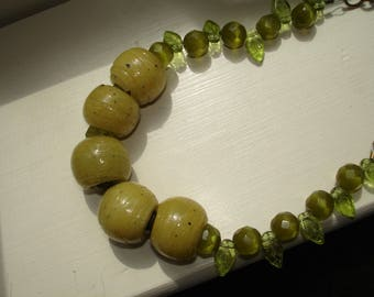 Handmade glass bead necklace - Green - Upcycled Artisan glass beads- Upcycled Jewelry- One of a kind Necklace