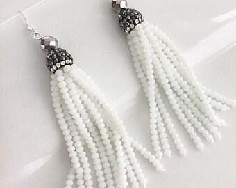 White Tassel Earrings, White Statement Earrings