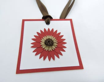 Rustic Paper Flower Gift Tags Set of 6 for Birthday Party Baby Shower or Wedding Decor