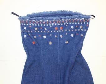 Vintage Denim Dress - Strapless Bandeau - Wiggle Dress -Frayed Hemline - Embroidered - Western -Fringe Jeans-Short Mini- XS 32 fitted