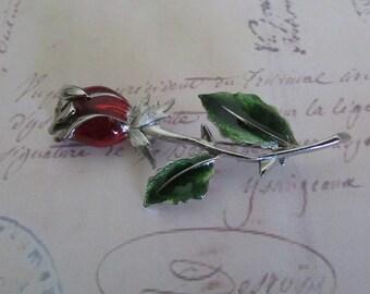 Vintage Brooch Pin Red Rose Rose Flower PIN w/Enamel Green Leaves Pink Rhinestone Silver Tone