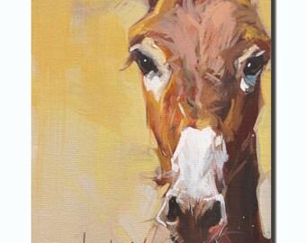 Western black donkey portrait Original oil Painting  on canvas panel 12CMX18CM