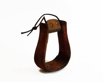 vintage leather horse saddle stirrup western rustic farmhouse prop decor
