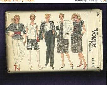 15% OFF SALE Vintage 1980s Vogue  8617 Jacket Skirt Blouse Pants and Shorts Sizes 14..16..18