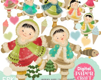 Eskimo Clipart, Alaska Clipart, Alaska Dolls, Winter Clipart, Snow Clipart, Children Clipart, Instant Download, Hand Drawn Clipart