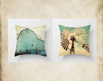 Throw Pillow Aqua Barn Vintage Windmill, Farmhouse Decor, Fixer Upper Style, Turquoise Photo Case Home Bedroom Bed Couch Sofa Set Collection