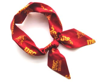 USC Scarf, Skinny Scarf, USC Trojans, Neck Scarf, Purse Scarf, usc football, usc spirit, USC Accessory, College Gift, Ready to Ship