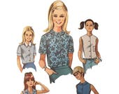 Vintage 1967 PREPPY Simplicity Pattern 7458,  Young Junior Teen's and Misses' Blouse Size 8 Bust 31 1/2