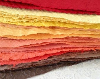 Homemade Paper - Handmade Recycled Paper - 28 sheets of Fall Colors - Autumn - acid free textured paper
