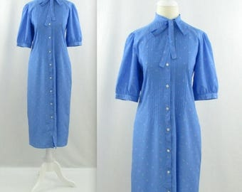 SALE Jack Mulqueen Printed Midi Shirtdress - Vintage 1980s Secretary Bow Dress in Blue - Small