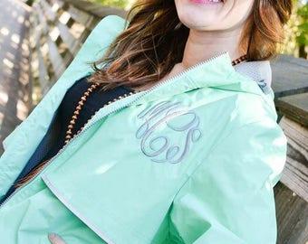 Womens Monogram Rain Coat, Rain Jacket with Hood Monogram, Monogrammed Rain Jacket, Monogrammed Charles River New Englander Rain Coat