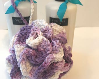 Handmade Shades of Purple and White Crochet Bath Pouf gify ideas under 10 gift basket idea made with 100% cotton yarn