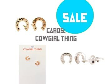 tiny HORSESHOE studs, second hole, Gold, Rose Gold, Silver, Cowgirl, Horse lover gift, Humane Society donation