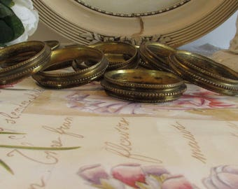 Antique French, set of 10 curtain/drape rings, drapery rings, gilt curtain rings