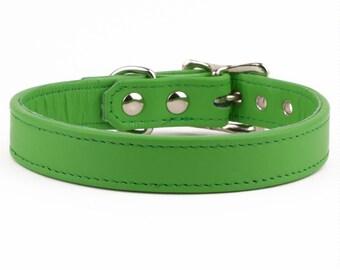 Apple Green Leather Dog Collar