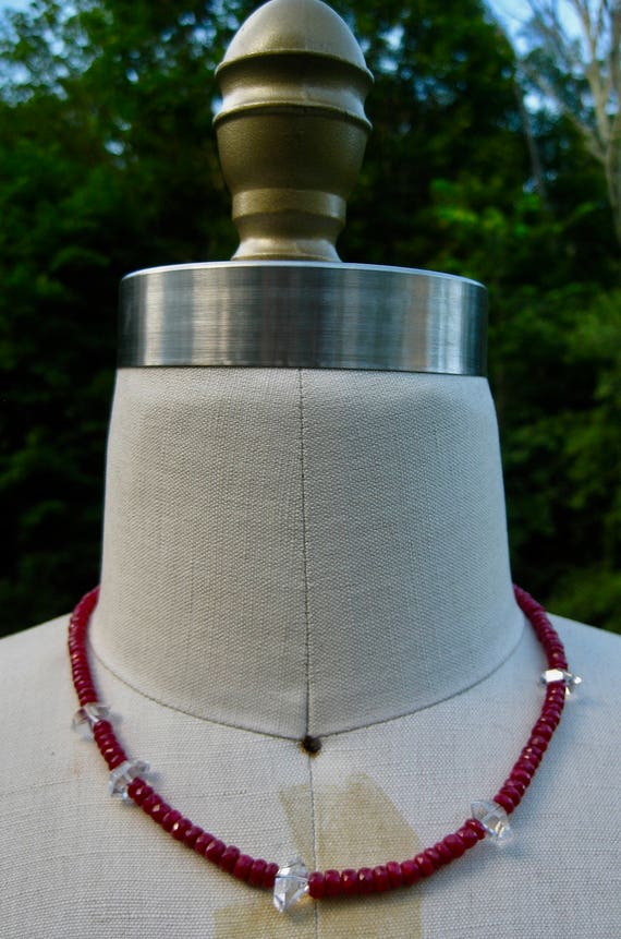 ARIEL  Single Strand Ruby Necklace with Herkimer Diamonds