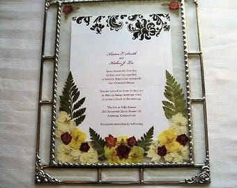"Framed Wedding Invitation|Pressed Flower Art|Up to 5""x7""