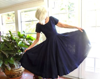 Vintage Mr. Mort dress 1950's full skirt fit and flare navy: xs extra small