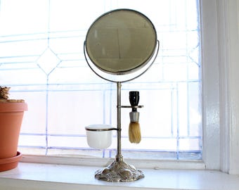 Antique Apollo Shaving Mirror On Stand with Brush and Soap Holder