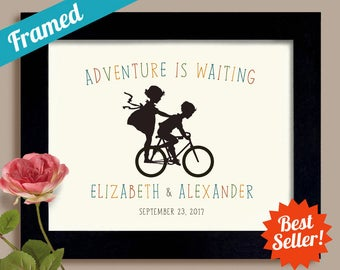 Cute Wedding Gift Unique Engagement Gift, Personalized Wedding, Bicycle for Two, Framed Bicycle Wedding Decor, Kids on Bike, Bride and Groom