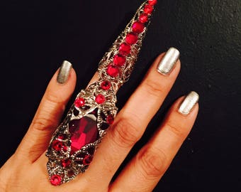 Large crystal armor ring,Full finger ring,full nail guard,full claw ring,crystal claw ring,silver filigree claw,siam red crystals.