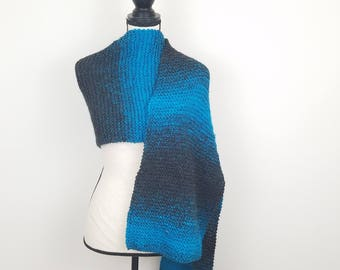 Ombre Super Scarf Teal Knitted Blanket Scarf