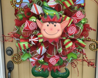 Christmas Elf Mesh Wreath