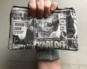 Zippered Pouch - Retro horror movie coin purse/change purse