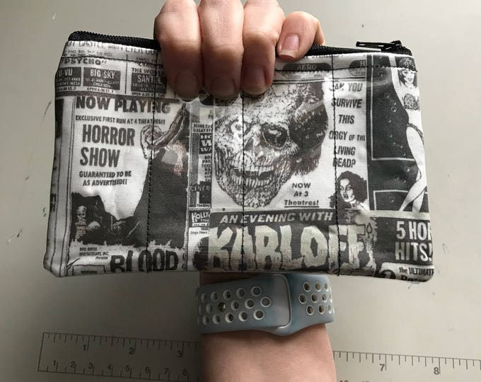 Zippered Pouch - Retro horror movie coin purse/change purse