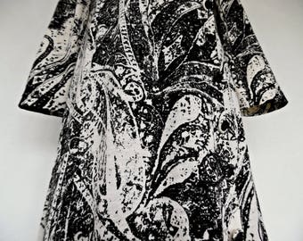 SALE:)) ITALY . Psychedelic Monochrome . Stunning Black Off White Maxi Dress 70s Merino Wool Jersey L