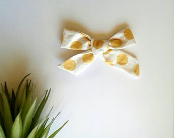 Girl's mustard polka dot yellow hair bow clip girls