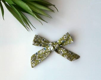 Girl's mustard yellow navy floral hair bow clip girls vintage modern