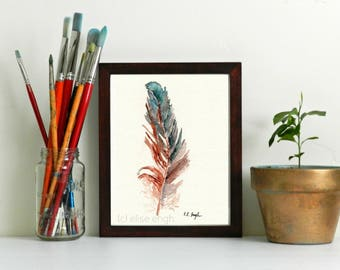 Rooster Feather Print, farmhouse style, fine art print, giclee, brown feather, teal feather, bird feather print, watercolor feather, art