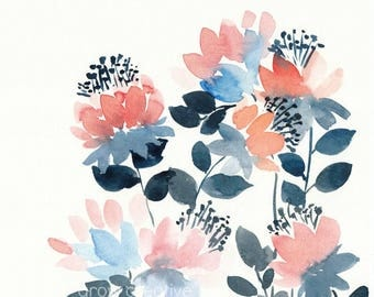 Coral and Navy Watercolor Flowers, original watercolor painting, floral watercolor, floral painting, peach, blue, soft floral, floral art