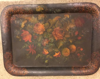 Antique Toleware Tray Primitive Tole Ware Tin Ware Canister Folk Art Sheet Metal Tin Victorian Rustic Country Farm Toleware Serving tray